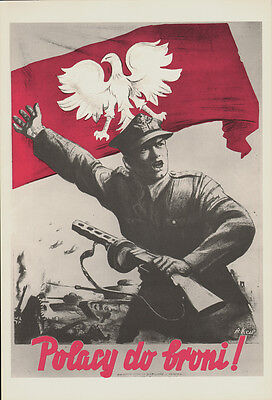 POLISH PEOPLE AT THE FRONT *  RARE EAST GERMAN art POSTER GDR COMMUNIST