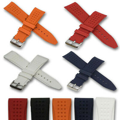 Curved end rubber watch strap mens silicone red orange blue black 20mm 22mm