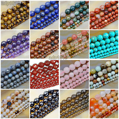 Natural Gemstones Faceted Round Spacer Loose Beads 15.5'' 4mm 6mm 8mm 10mm 12mm