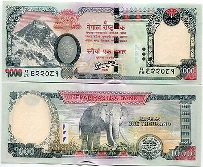 Nepal 1000 1,000 Rupees 2013 / 2015 P New Rastra At Back Unc