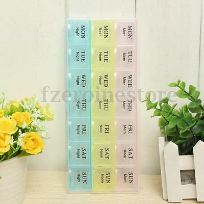 7 Day Weekly Large Pill Medicine Storage Box Case Organiser With 21 Compartments