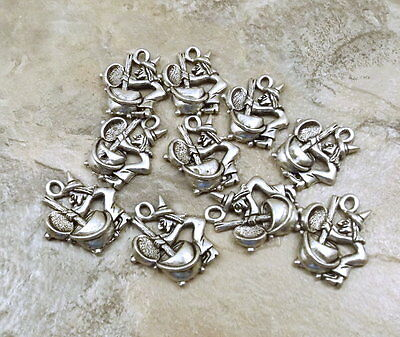 Set of 10 Pewter Witch Stirring Cauldron Charms -5211