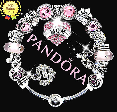 Authentic Pandora Bracelet Silver with Pink MOM Crystal Family European Charms