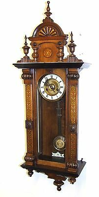 Exquisite Antique Painted & Carved Walnut Vienna  Wall Clock