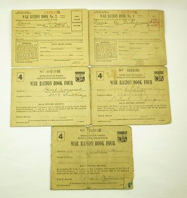 Lot of 5: Original WWII United States War Ration Books, Two #3 & Three #4