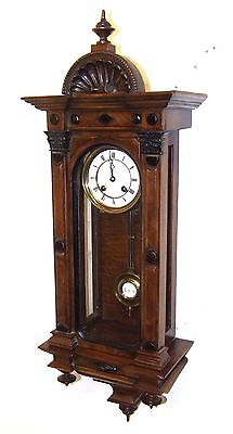 Exquisite Antique Lenzkirch Miniature Walnut & Ebonised Vienna  Wall Clock