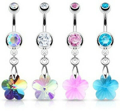 B#286 - 4pcs Crystal Flower Prism Dangle Belly Rings Navel naval