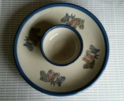 Chips And Dip Bowl Racing Horse PRIMCO Capital LOUISVILLE STONEWARE 1998