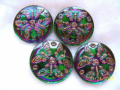"CZECH GLASS BUTTONS (4 pcs) 1""- 27mm VITRAIL GREEN 24K GOLD US  L 072"