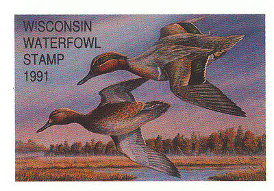 EXTREMELY RARE Wisconsin Waterfowl Stamp Block 1991 Error