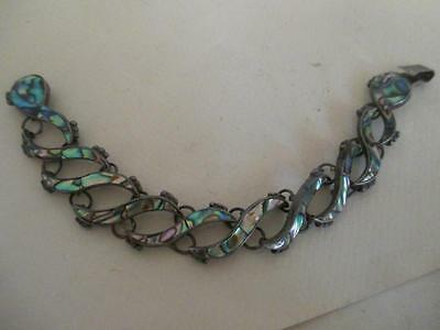D5 Signed TAXCO MEXICAN Silver ABALONE Link Bracelet