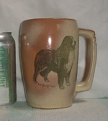 "1980 Large FRANKOMA Ceramic D POPOWITZ Dog BERNESE MT MOUNTAIN 5 1/2 "" Mug STEIN"