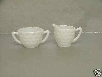 Jeannette Glass CUBE CUBIST Milk White Opaque Sugar & Creamer Depression