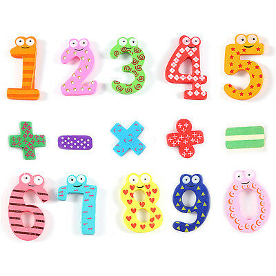 15pcs/set Colourful Wooden Magnetic Fridge Magnet Numbers Educational Kids Toys