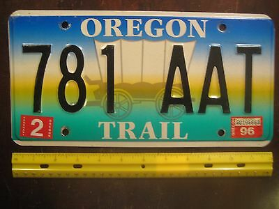 License Plate, Oregon Trail, 1997, 781 AAT, Graphics: Covered Wagon, Beaut!