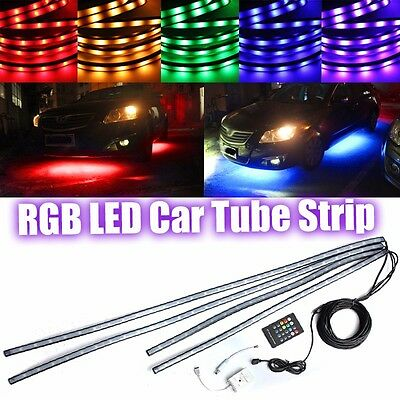 4x RGB LED Tira Coche Tube Underglow Underbody System Neon Light Control Kit