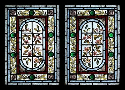 Stunning Jewelled Rare Painted Floral Pair Antique English Stained Glass Windows