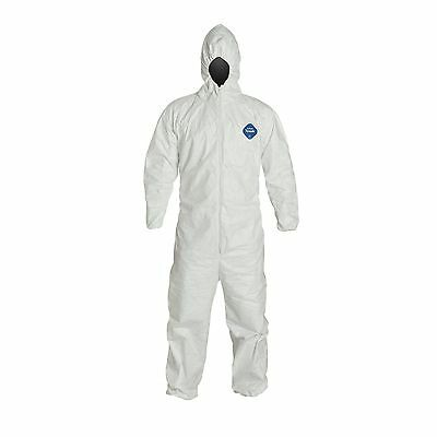 DuPont Tyvek TY127S Disposable Coverall Suit Hood Elastic Wrist Ankles MEDIUM