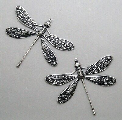 #3322 LRG ANTIQUED SS/P DRAGONFLY W/TOP HANG RING - 2 Pc Lot
