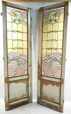 Pair of Massive Vintage Stained Glass Doors (0108)NJ