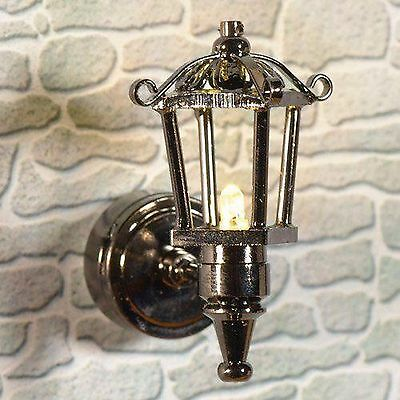 1/12Th Scale Dolls House Led Metal External Lantern Wall Lamp With Battery