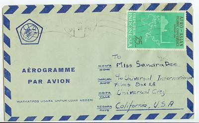 1965 Indonesia franked Aerogramme to Hollywood actress Sandra Dee - cover
