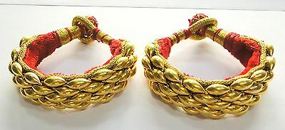 Vintage antique traditional handmade 20K Gold jewelry beads bracelet Bangle pair