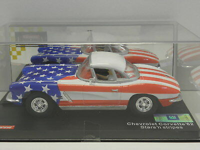 Carrera 20430 Exclusiv Slot Car Chevrolet Corvette Convert 1962 stars & stripes