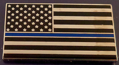 THIN BLUE LINE/US FLAG Lapel Pin subdued black & silver police/sheriff/trooper