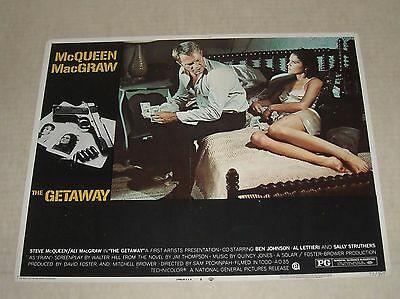 1972 The GETAWAY LOBBY CARD # 4 STEVE McQUEEN ALI MacGRAW CRIME THRILLER