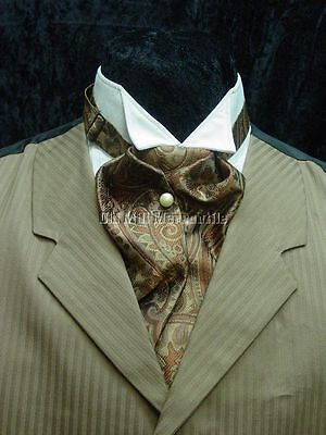 Mens ASCOT Victorian wedding old west ascot tie brown, rust and gold