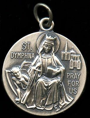 Saint Dymphna Religious Pendent Silver Filled