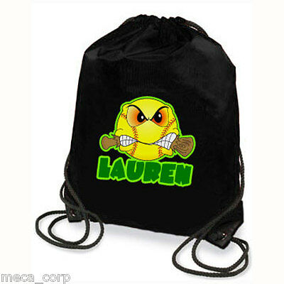 Personalized Softball Drawstring Backpack