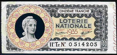 France. Loterie Nationale, 0 514205, 1935.