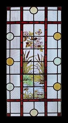 Stunning Painted Lily Pond With Butterfly Antique English Stained Glass Window