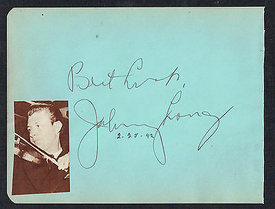 Johnny Long d. 1972 signed autograph 4x6 Album Page The Man Who's Long on Music
