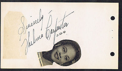 """Thelma Carpenter (d. 1997) signed autograph 4x6 Album Page """"Miss One"""" The Wiz"""