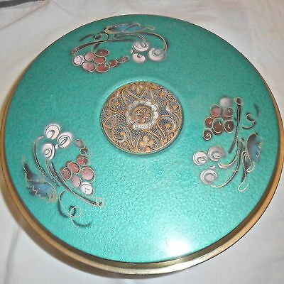 Old brass cake stand, mid-20th century, green enamel, Made in Israel