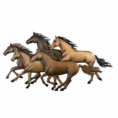 Rustic Western Wild Galloping Horses Metal Wall Sculpture Decor New