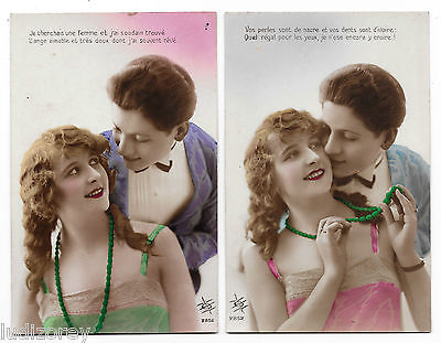2 Cpa Bq02 Miss Mode Charme Chevelure Boucle Anglaise Pin-Up Flirt French Lover