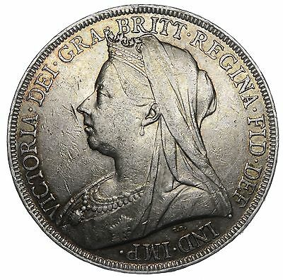 1900 Lxiii Crown - Victoria British Silver Coin - Nice