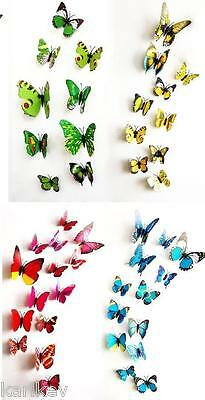 12pcs 3D Butterfly Fridge Magnets Wall Stickers Art Decoration Child Kids Room