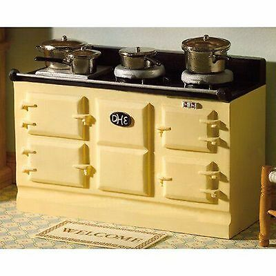 DOLLS HOUSE 1/12th  LGE CREAM AGA STYLE KITCHEN STOVE