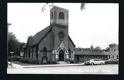 Lexington Illinois IL 1960 RPPC Old Brick Methodist Church, Old Cars, Cedar St