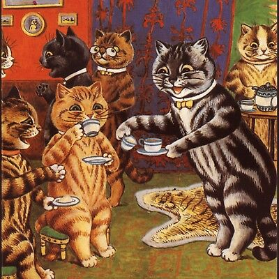"""Louis Wain """"afternoon Tea At Home"""",reproduction Of1905 Image,blank Greeting Card"""