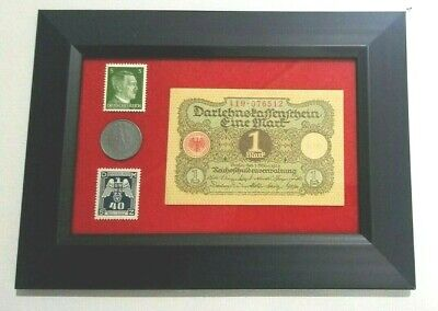 WW2 Rare Nazi 10 Rp Coin wth SWASTIKA Hitler Stamps 1 Mark Bill in Disp frame