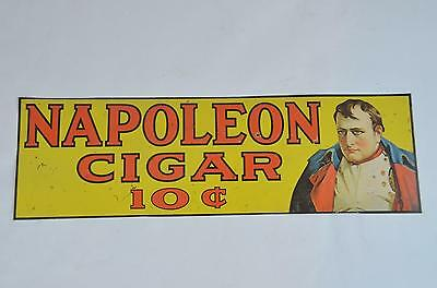 "Vintage Napoleon 10 cent Cigar Yellow 18"" Embossed Metal Sign"
