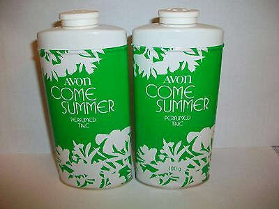 Avon Come Summer  Vintage  Perfumed Talcs X 2 Each 100G