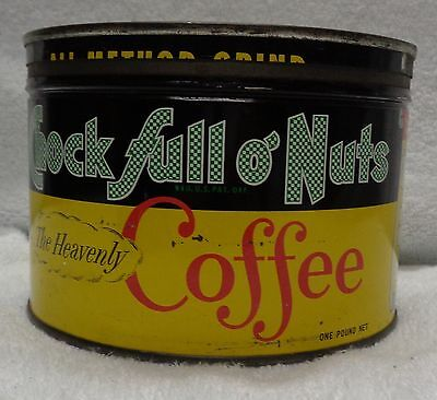 Chock Full Of Nuts One Pound   Vintage Tin Coffee Can