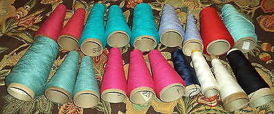 Huge Lot  w/ 19 Cones of Knitting Yarn for Machine Assorted Colors & Brands
